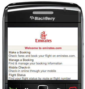 Emirates Airlines Launches Mobile Phone Booking