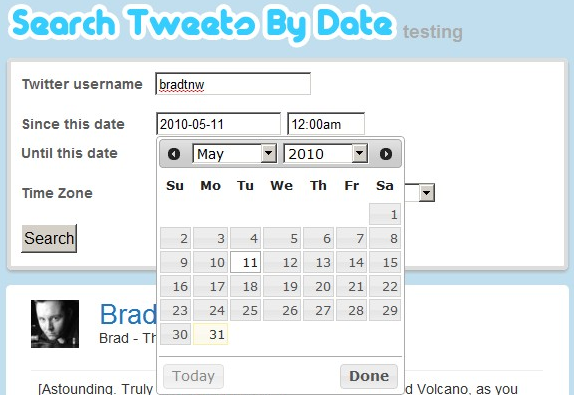 how to search tweets from a certain date