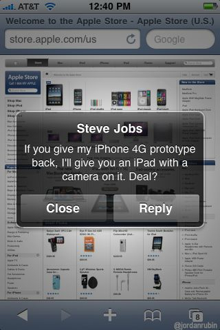 Screen capture: message from Jobs
