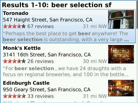 4.2 listview beer selection sf Blackberry users rejoice, new Google Maps features for you.