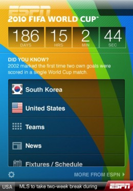 ESPN World Cup iPhone App 260x373 World Cup fever?  Here are 5 apps to keep you on top of things.