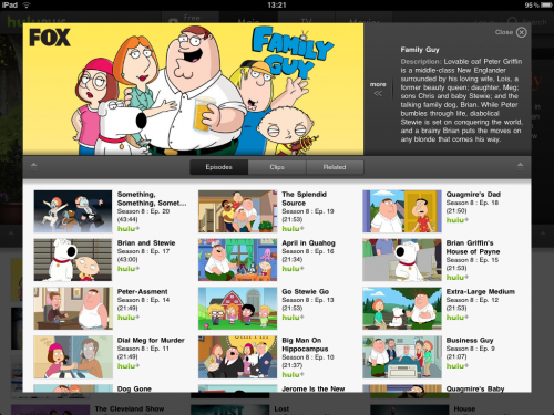 IMG 0016 500x375 Hulu+ universal app is in the App Store.  Heres a quick first look.