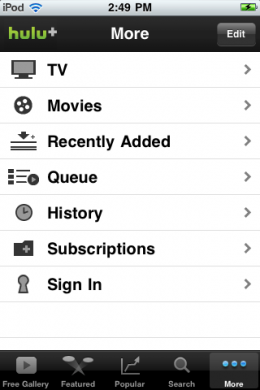 IMG 0027 260x390 Hulu+ universal app is in the App Store.  Heres a quick first look.