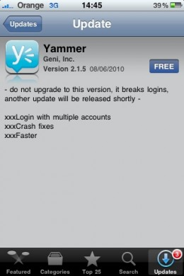 Image01 260x390 Using Yammer?  You can update now!