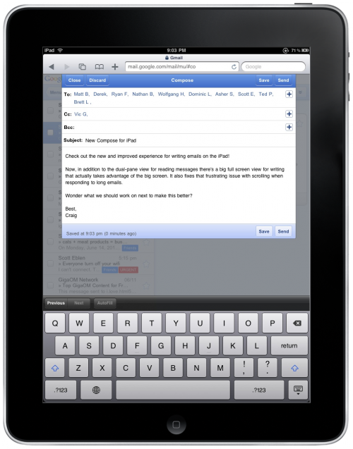 NewCompose 500x637 Gmail on the iPad gets a spiffy new interface.