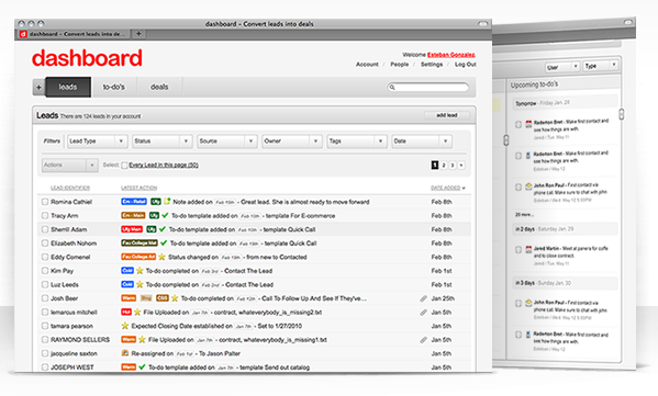 dashboard: Organizing your leads, and making you more money.