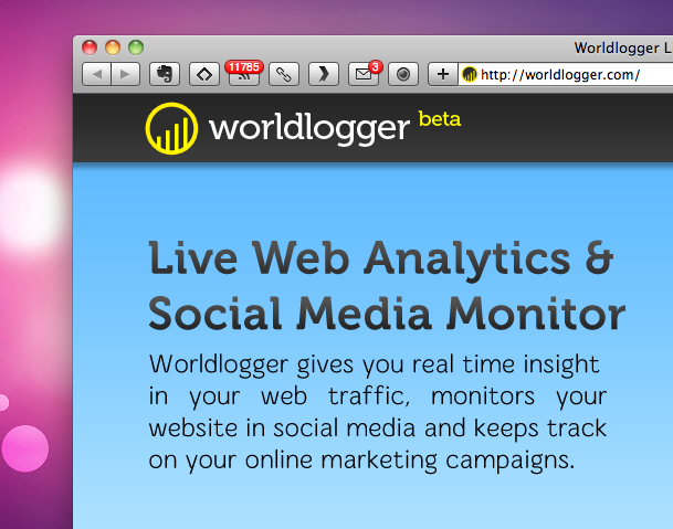 Worldlogger brings social media stats to your real-time analytics.