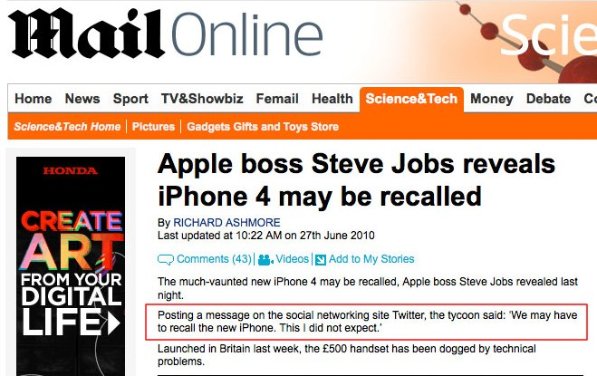 DailyFail: Newspaper quotes (Fake) Steve Jobs tweet in story about iPhone 4 recall