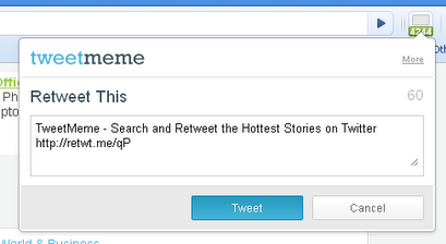 TweetMeme extension just made Retweeting from Chrome even easier.