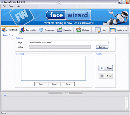 facewizard1 Facebook Slamming The Back Door On Spammers?
