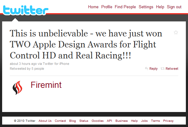 firemint Apple Design Award Winners Announced. Australias Firemint Does the Double.