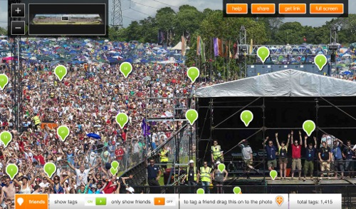 glastotag 1.3 Gigapixel photo on track for Most Tagged Online Image Ever