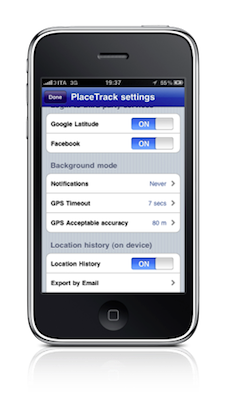 iphone screen2 settings 50pct thin PlaceTrack: Enabling Background Google Latitude Updates For iPhone