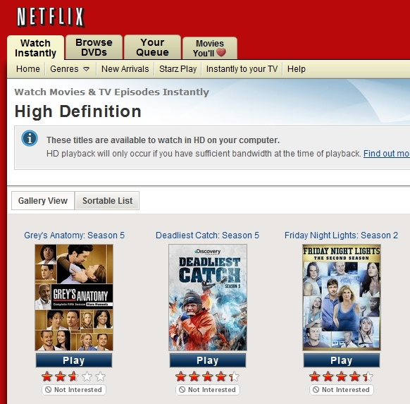 "Netflix Adds HD Category To Its Watch Instantly ""Genres"""