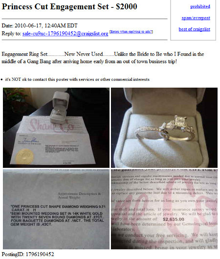 some princess she is Craigslist: Engagement Ring Catastrophe