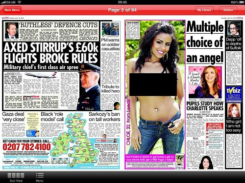the sun ipad edition page 3 m The Suns iPad App Launches, Bypasses Apples No Porn Rule