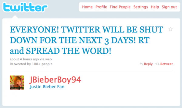 twitter 600x356 False rumours that Twitter is shutting down for 3 days. Blame Bieber.