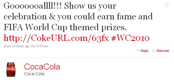 wc2010c The power of Twitter?  Coke gets 85 million ad views in 24 hours.