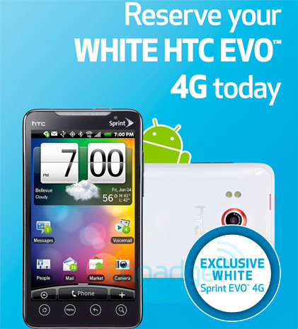 white evo 4g htc small A Great White Whale Spotted: HTC Evo 4G In White At Best Buy On Pre Order Today