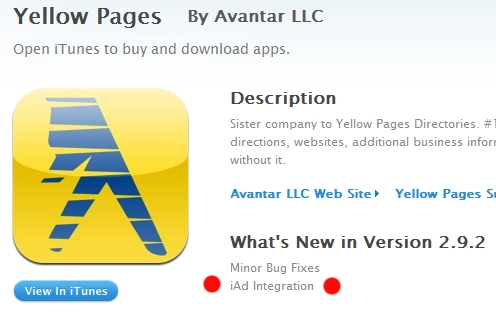 yellowpages iPhone Apps With iAd Integration Appear In The App Store