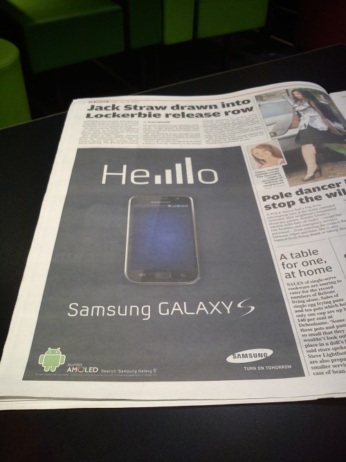 134052450 500x666 Samsung Newspaper Ad Takes Playful Swipe At Apples Signal Issues