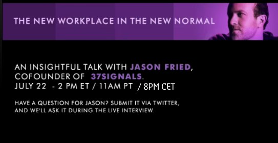 HPJasonFried Tune in on the live webcast with Jason Fried, founder 37Signals, author of Rework