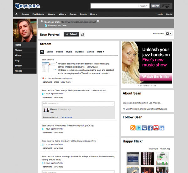 Picture 1221 600x550 MySpace gets a huge update with really slick profile pages.