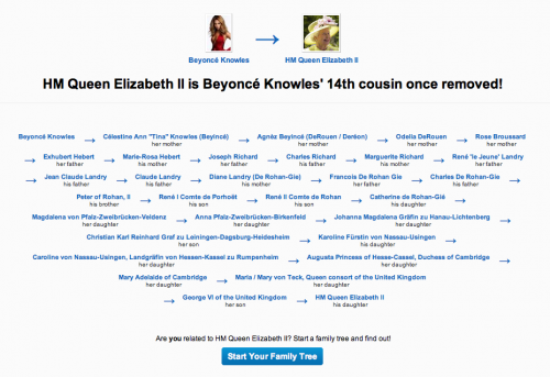 Picture 1439 500x343 According to Geni, Beyonce Knowles is related to Her Majesty the Queen(!) I kid you not.