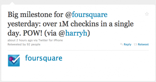 Screen shot 2010 07 03 at 19.49.05 499x261 Foursquare Surpasses One Million Check ins In A Single Day