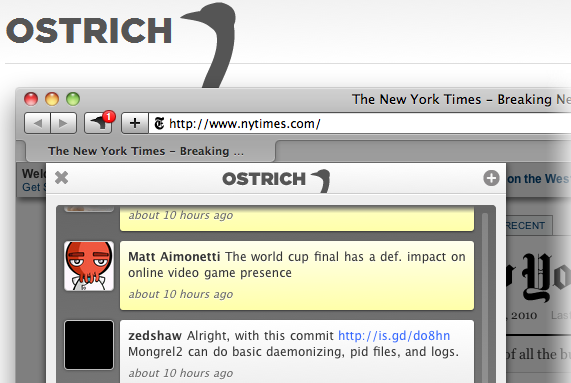 Safari's first Twitter app, Ostrich, puts slick and simple into the forefront.