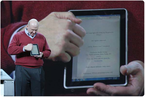 Ballmer promises Windows 7 slates this year.