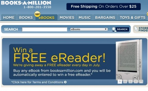 booksmillion 500x309 Books a Million joins the eBook fray, giving away a Sony Reader everyday in July