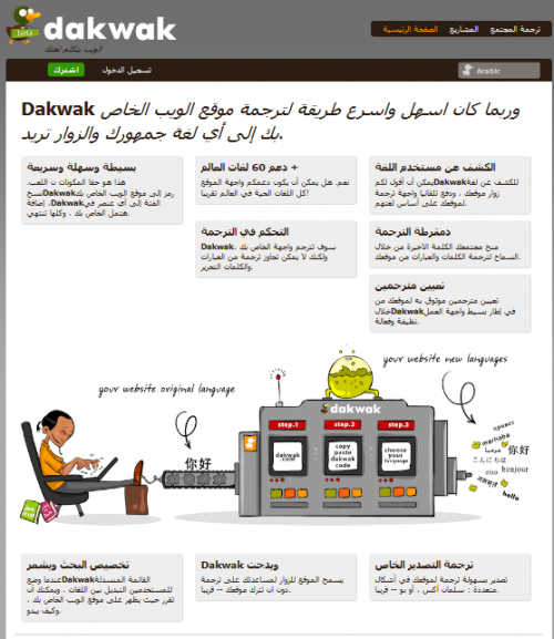 Dakwak Homepage in Arabic losing appropriate Styling and Context