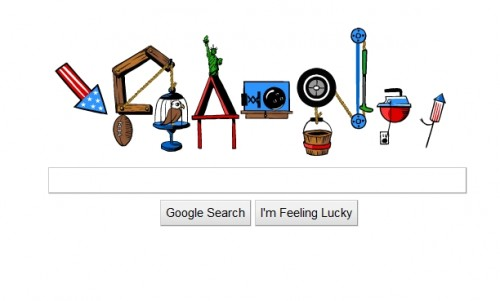 first 500x301 Pop Goes Google! Rube Goldberg Doodle Puts On A Fourth of July Display