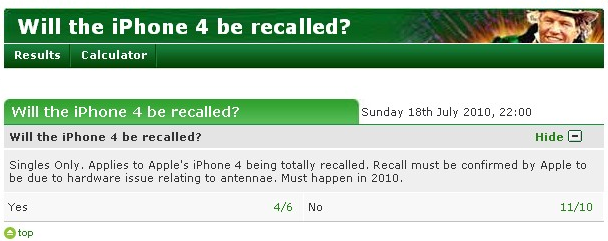 "Odds of an iPhone 4 recall? Bookmaker says ""Very likely"""