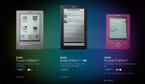 sony ereaders 07 05 2010 500x290 Sony Cuts E Reader Prices To Compete   Does Not Slash Hard Enough
