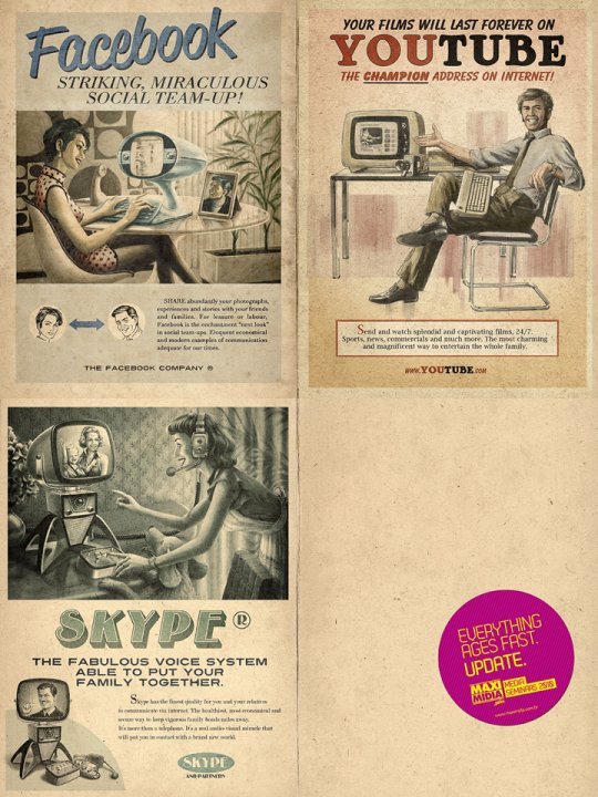 Very cool vintage ads for Facebook, Youtube and Skype