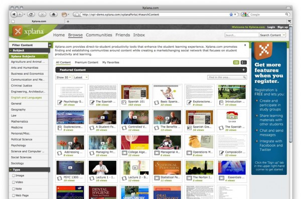 Browse Public Content1 600x396 Xplana launches free, online, collaborative educational tools.