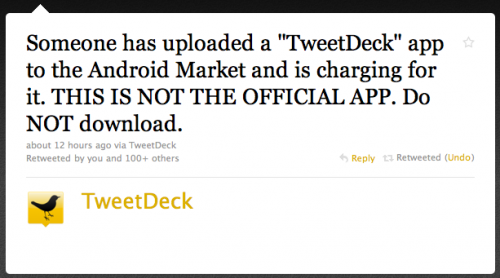 Screen shot 2010 08 14 at 10.12.10 500x278 Beware Of Fake TweetDeck App On The Android Market