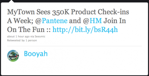 TwitterMyTown1 499x254 MyTown hits 350k product check ins per week. Reveals new corporate partnerships.