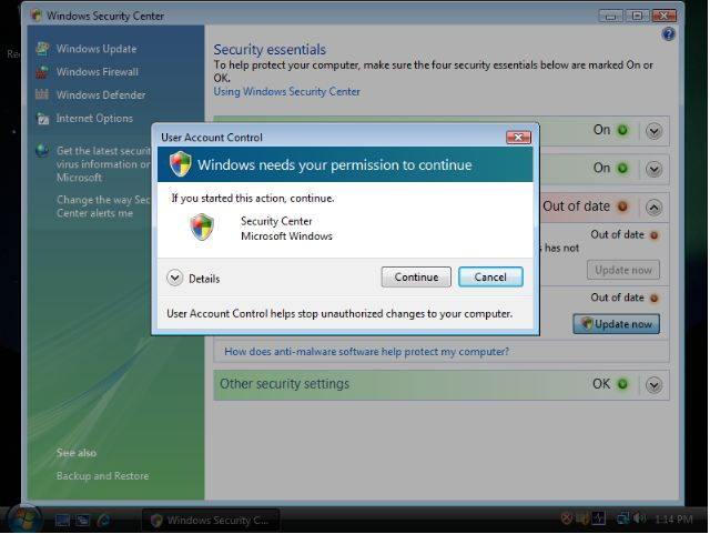 UAC popup Microsoft: Annoying Vista Features Made Windows As Secure As Unix