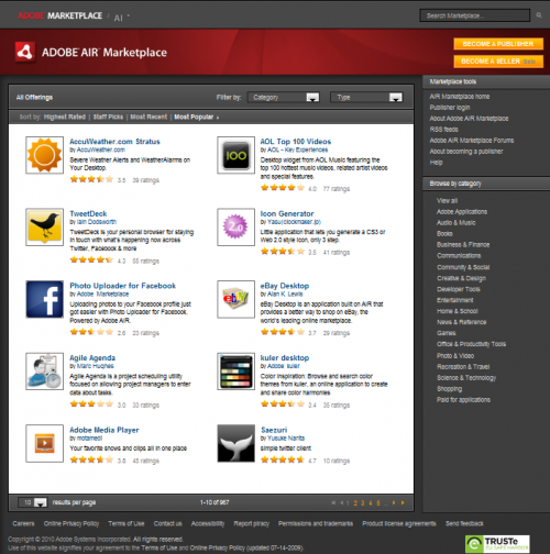 Official Adobe Air Marketplace screenshot