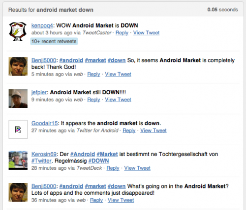 androidmarket 500x428 Is The Android Market Down?
