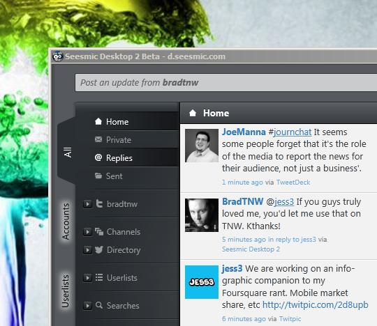 Seesmic Desktop 2 Beta: Now with real-time Twitter user streams.