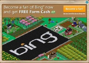 bing farmville campaign 300x213 Facebook solidifies its Microsoft partnership: Bing Maps being used in Places app.