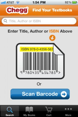 chegg21 260x390 Chegg iPhone app lets students search and scan their way to textbook savings.
