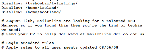 daily mail seo robots The Daily Mails Robots.txt File Contains... an SEO Job Advert(!?)