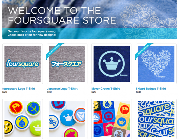foursquare 600x466 Check Out (Or Should It Be Check In To?) Foursquares New Online Store