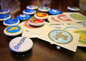 foursquarebuttons 300x214 Check Out (Or Should It Be Check In To?) Foursquares New Online Store