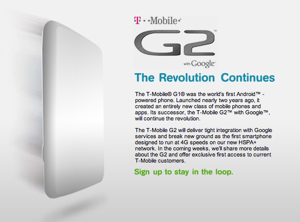 T-Mobile Officially Announces It's First HSPA+ Handset: The T-Mobile G2